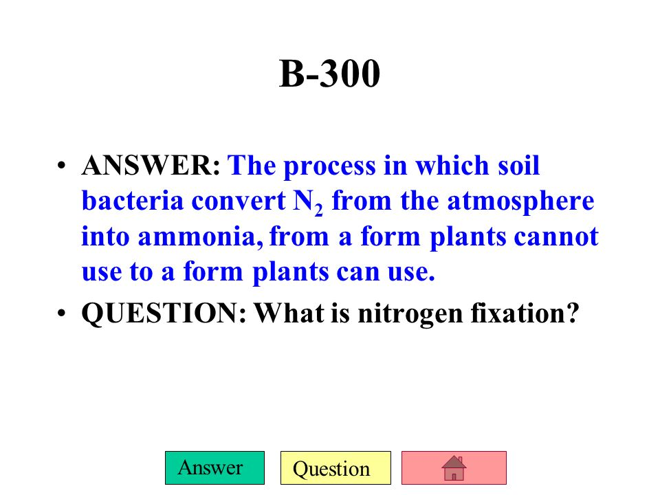 B-300 ANSWER: The process in which soil bacteria convert N2 from the atmosphere into ammonia, from a form plants cannot use to a form plants can use.