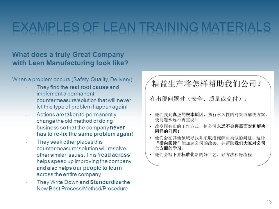 Examples of LEAN TRAINING MATERIALS