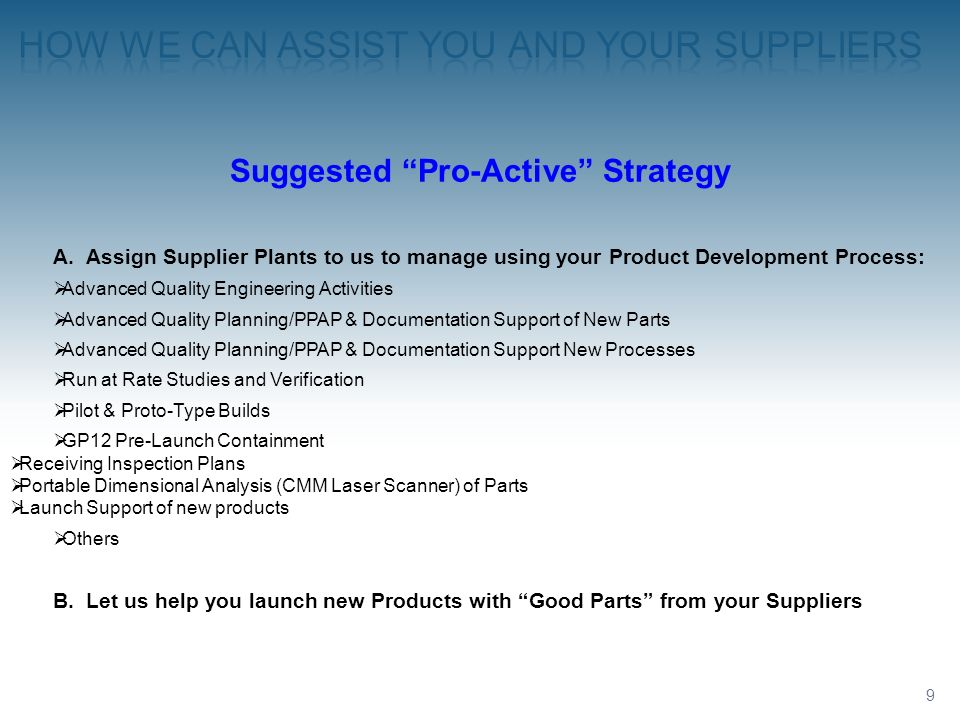 How we can assist you and your Suppliers