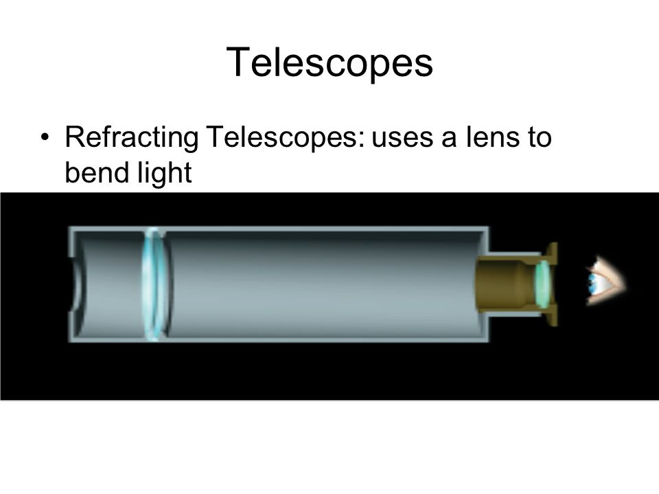 Telescopes Refracting Telescopes: uses a lens to bend light