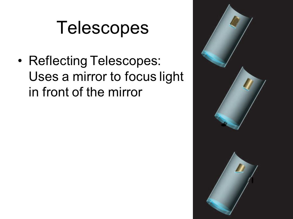 Telescopes Reflecting Telescopes: Uses a mirror to focus light in front of the mirror