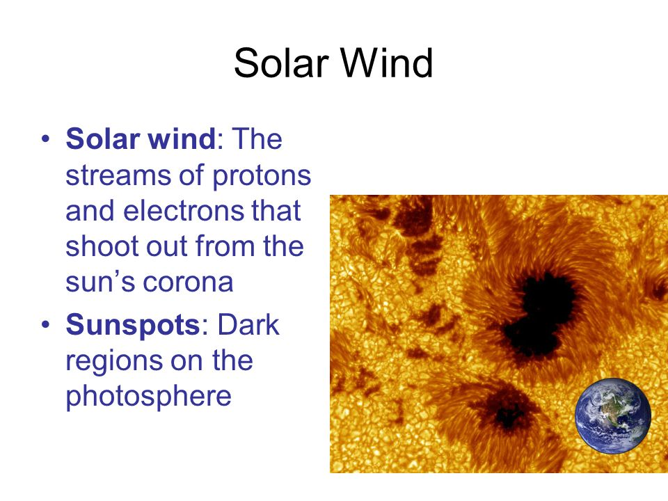 Solar Wind Solar wind: The streams of protons and electrons that shoot out from the sun's corona.