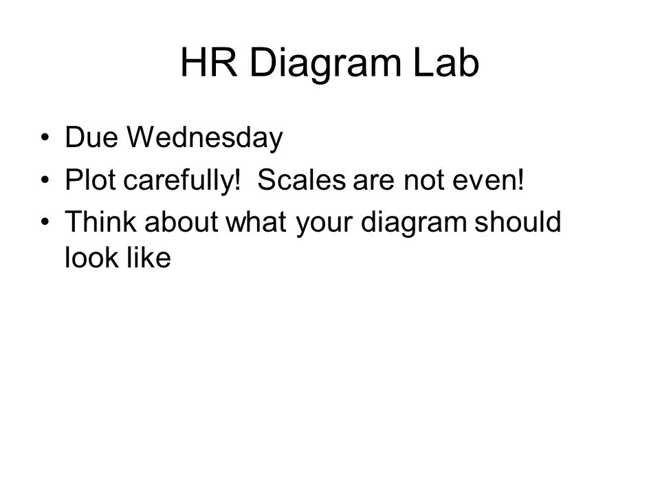 HR Diagram Lab Due Wednesday Plot carefully! Scales are not even!