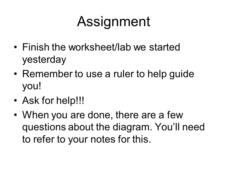 Assignment Finish the worksheet/lab we started yesterday