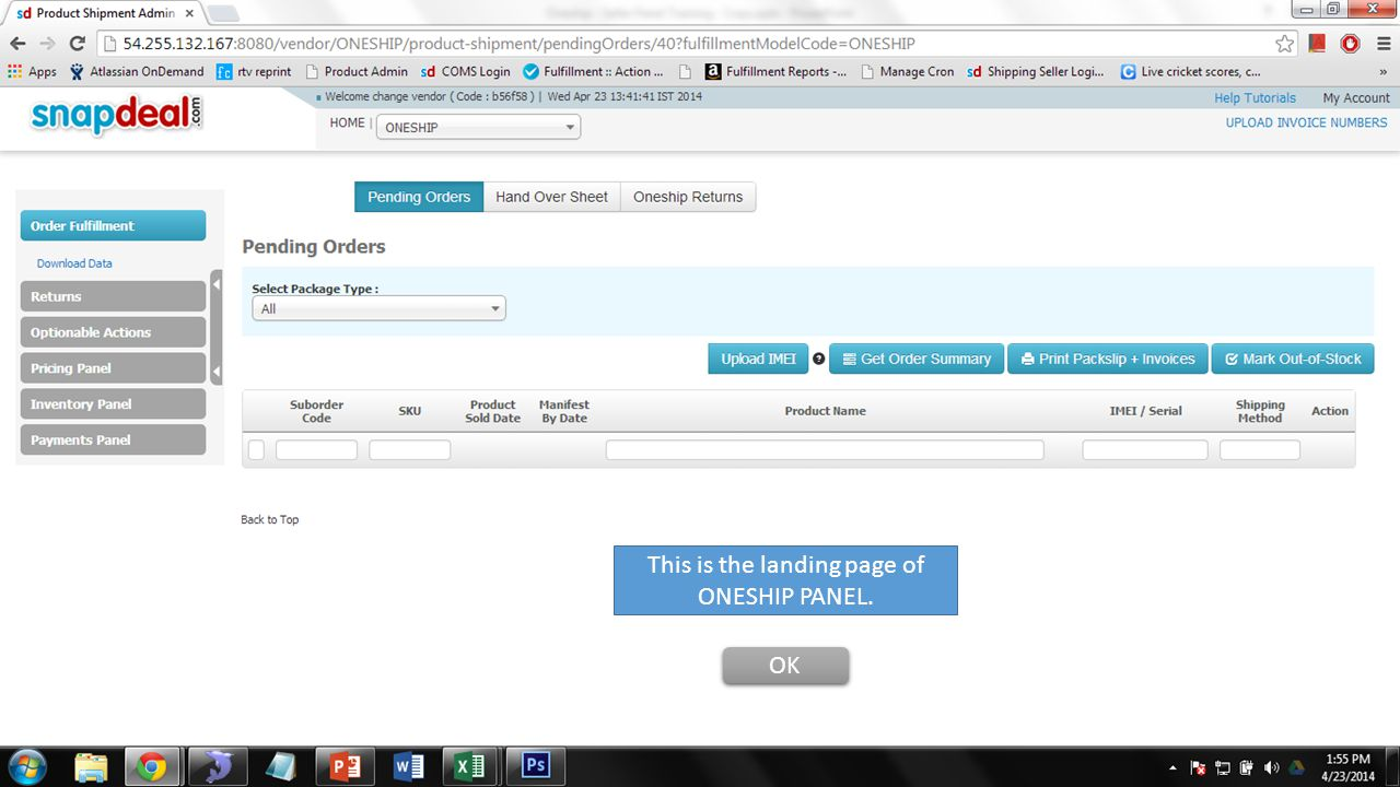 This is the landing page of ONESHIP PANEL.