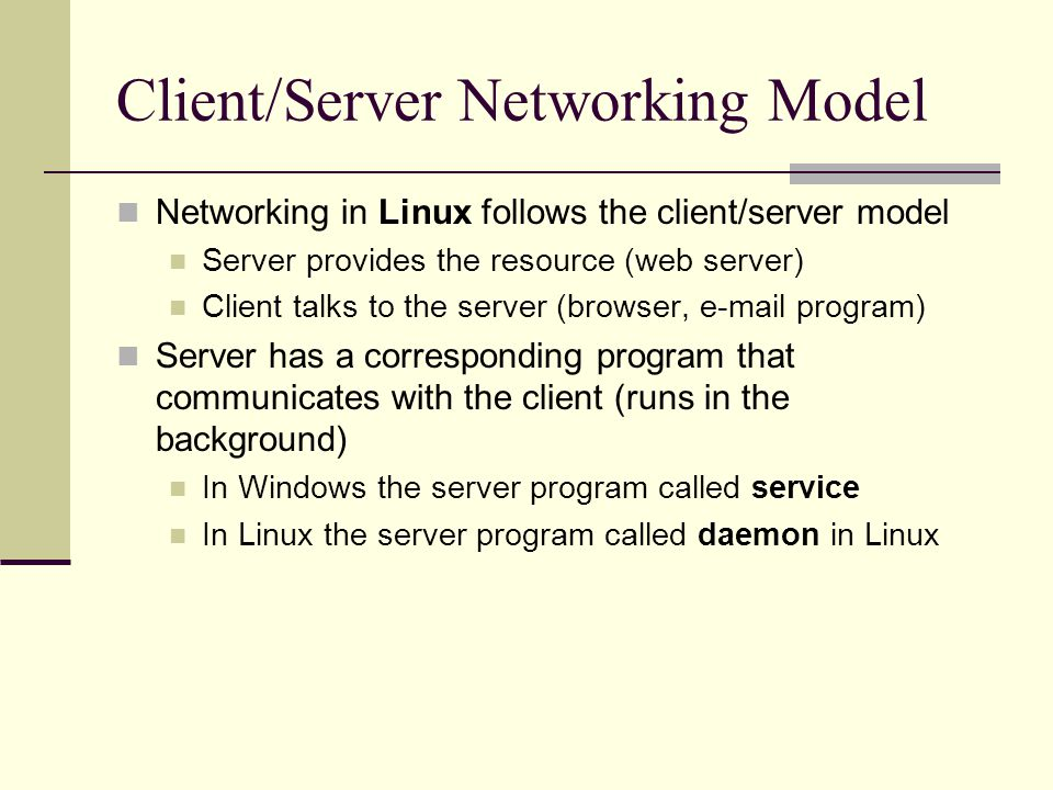 Client/Server Networking Model