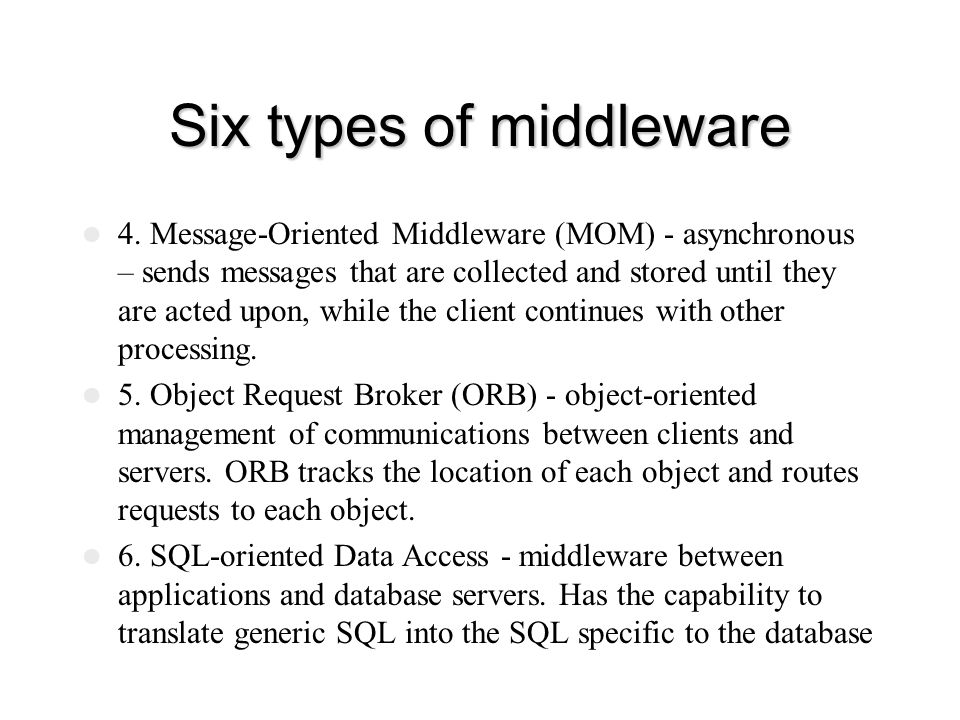Six types of middleware