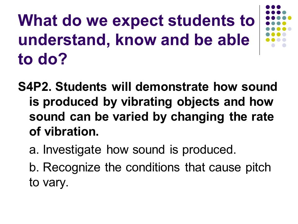 What do we expect students to understand, know and be able to do