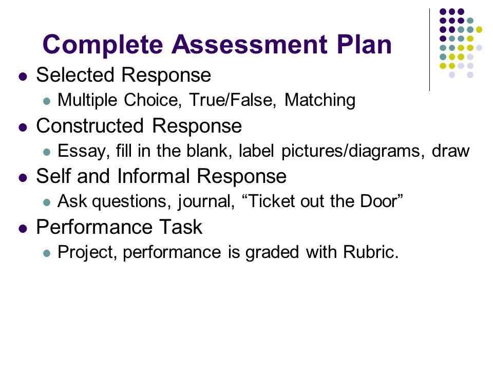 Complete Assessment Plan