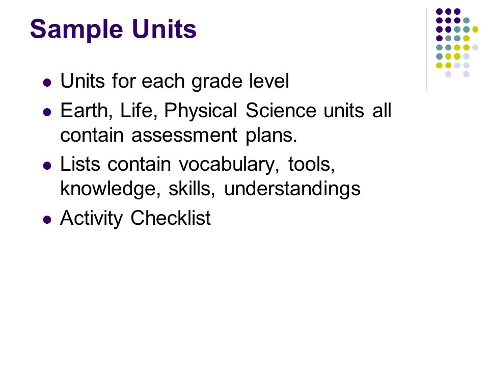 Sample Units Units for each grade level