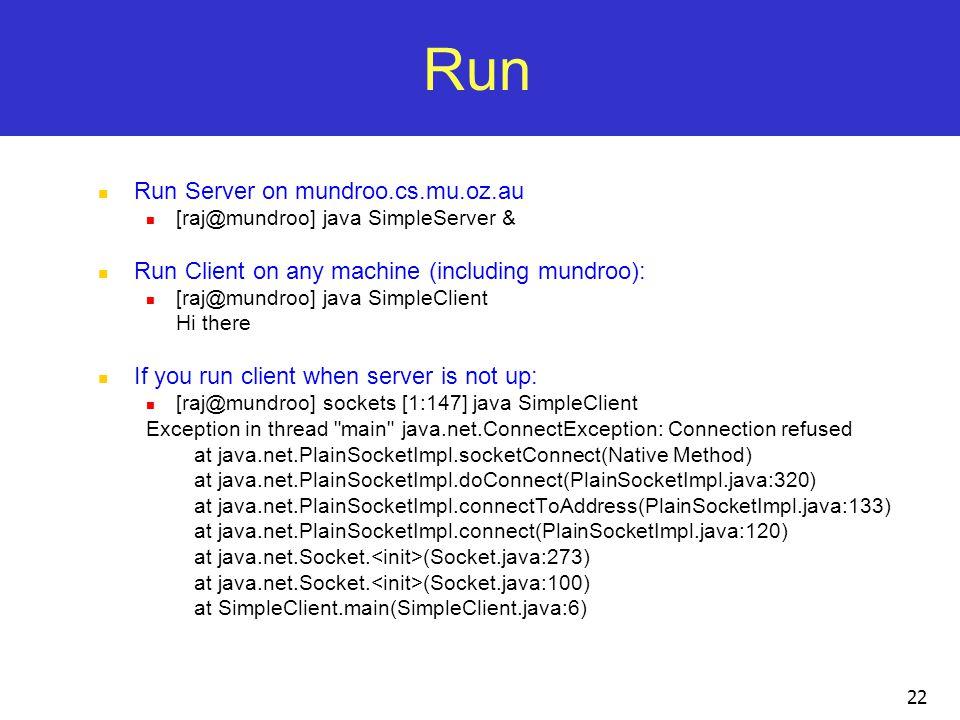 Run Run Server on mundroo.cs.mu.oz.au
