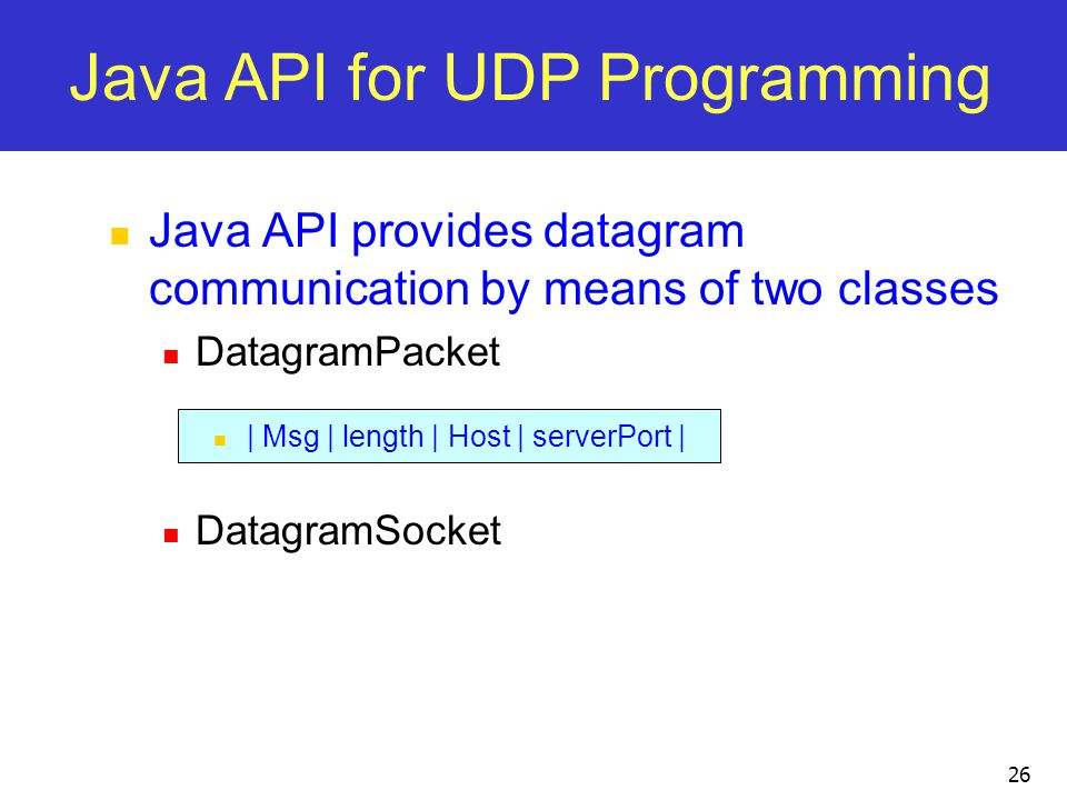 Java API for UDP Programming