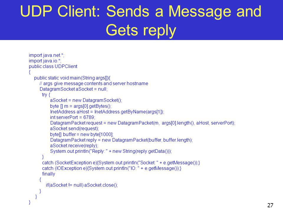 UDP Client: Sends a Message and Gets reply