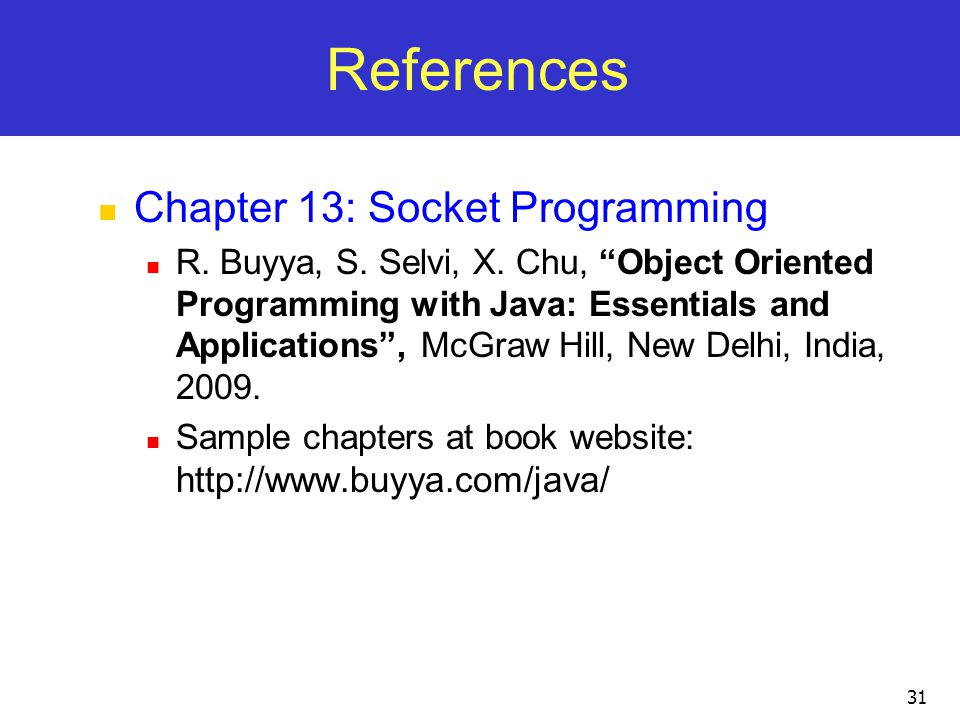 References Chapter 13: Socket Programming