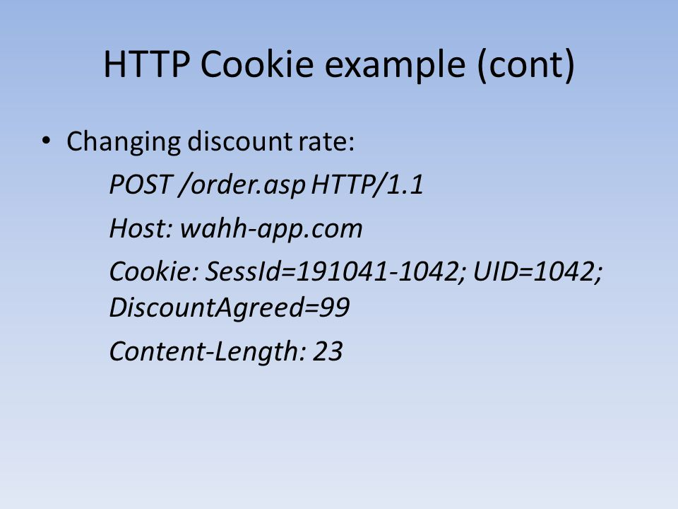 HTTP Cookie example (cont)