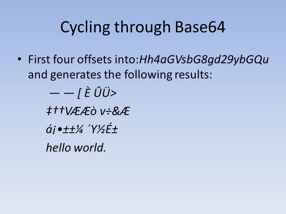 Cycling through Base64 First four offsets into:Hh4aGVsbG8gd29ybGQu and generates the following results:
