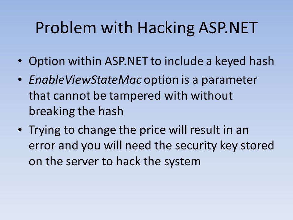 Problem with Hacking ASP.NET