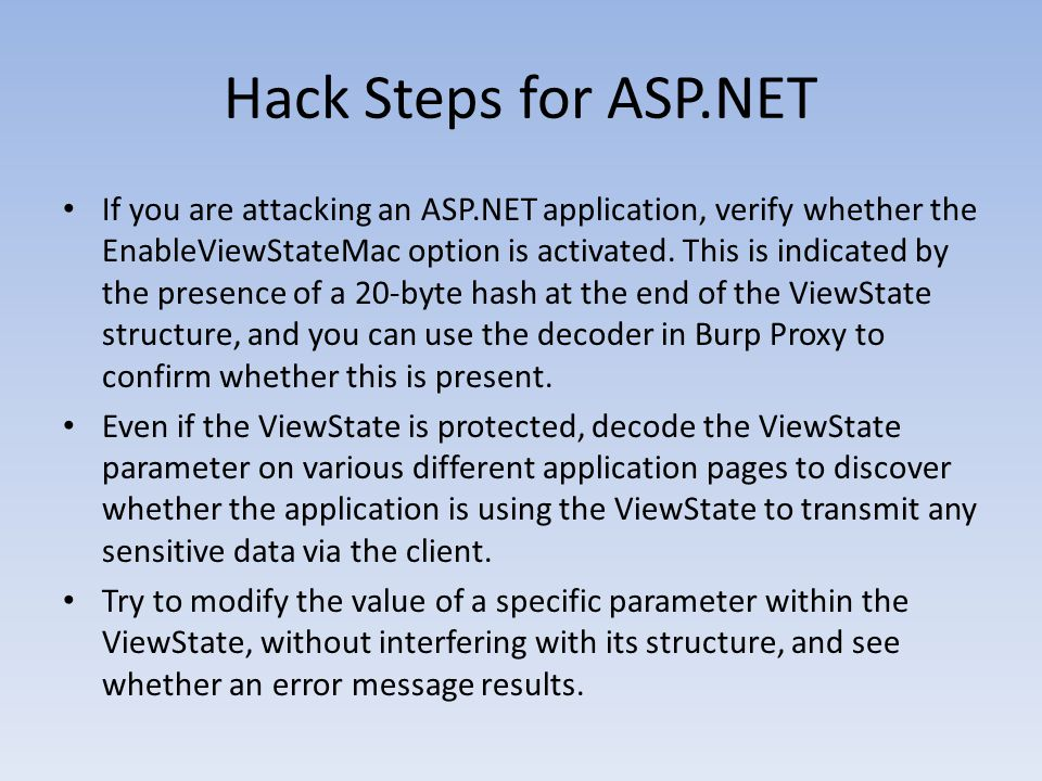 Hack Steps for ASP.NET