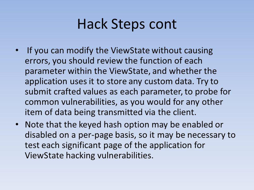 Hack Steps cont