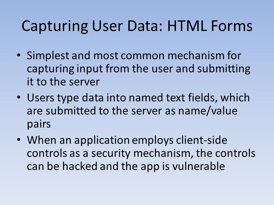 Capturing User Data: HTML Forms
