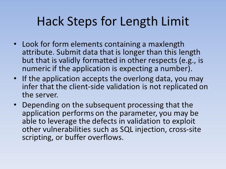 Hack Steps for Length Limit