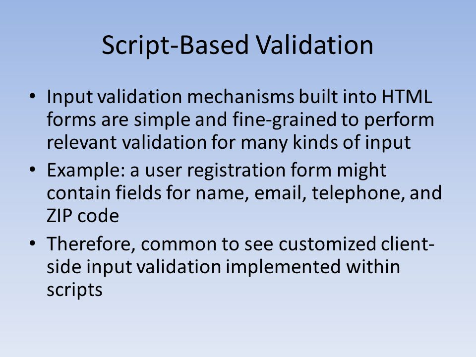 Script-Based Validation