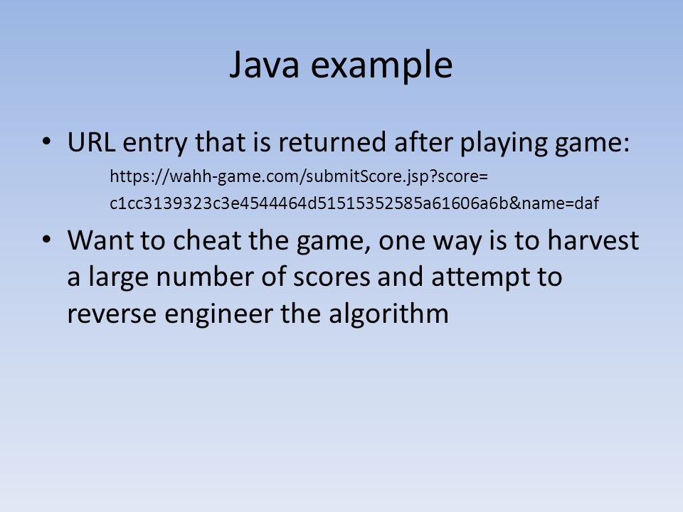 Java example URL entry that is returned after playing game: