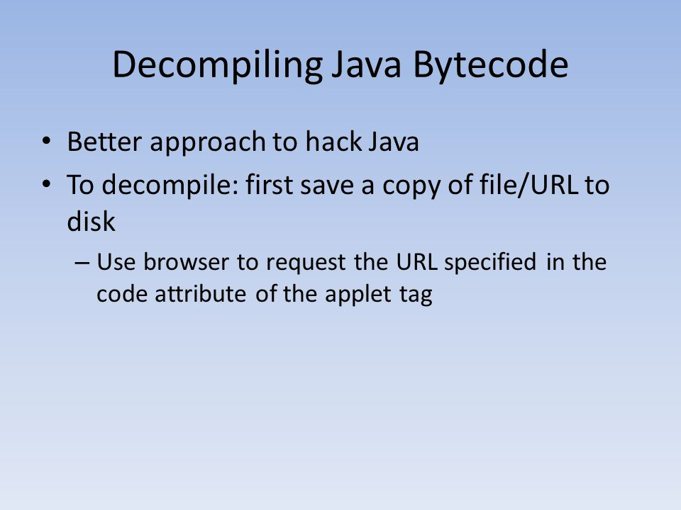Decompiling Java Bytecode