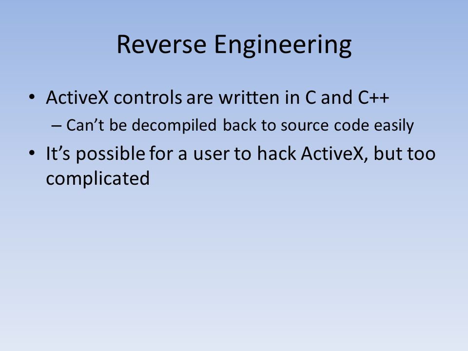 Reverse Engineering ActiveX controls are written in C and C++