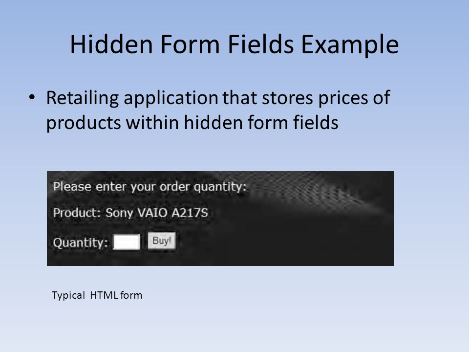 Hidden Form Fields Example