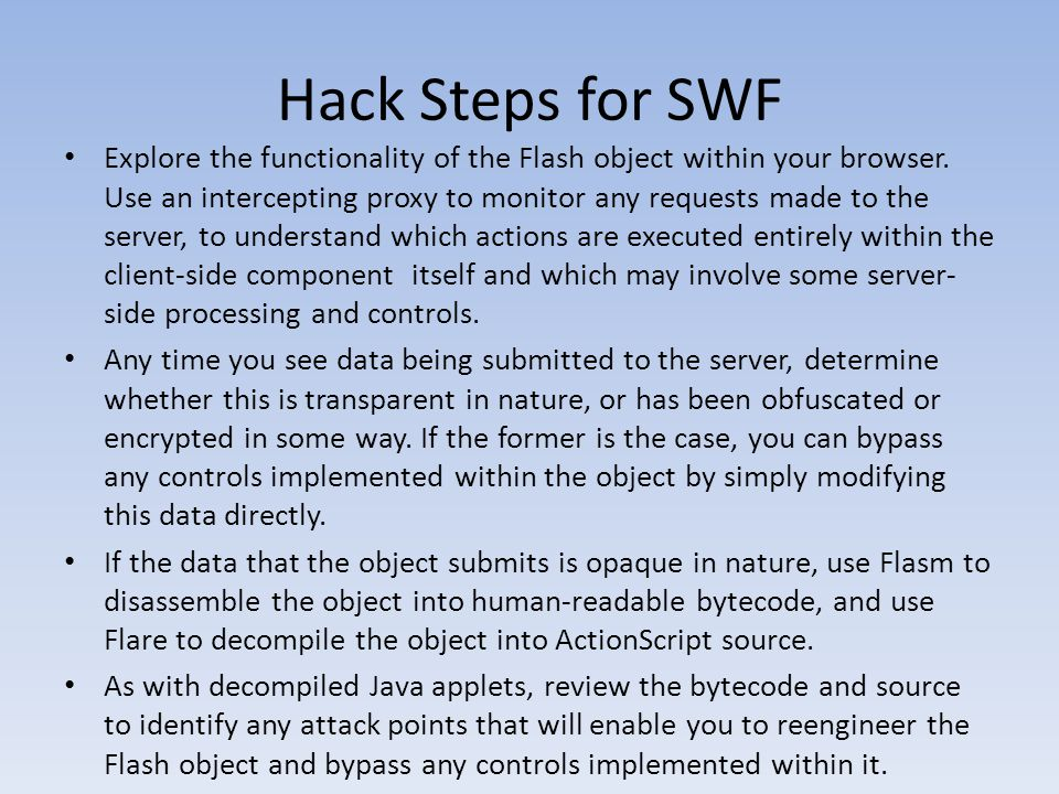 Hack Steps for SWF