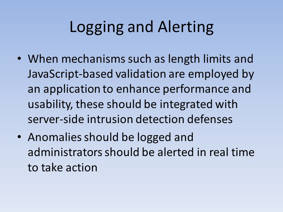 Logging and Alerting