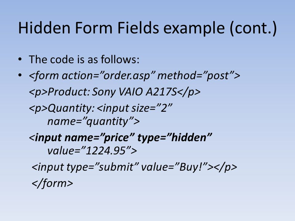 Hidden Form Fields example (cont.)