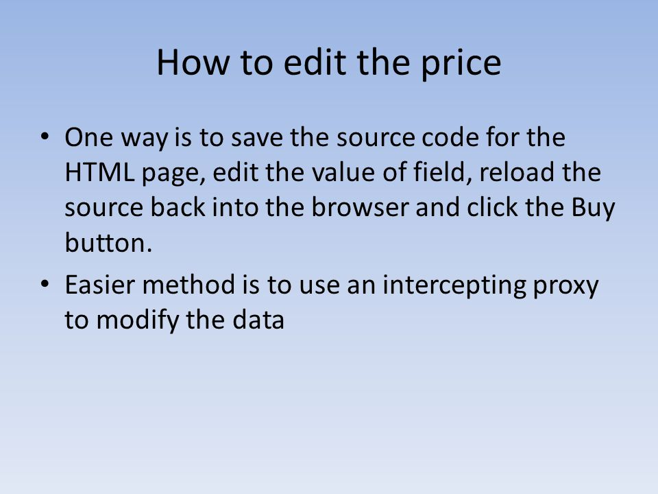 How to edit the price
