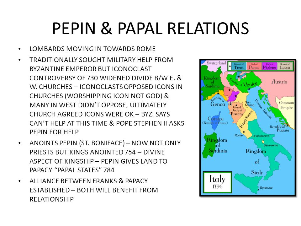 PEPIN & PAPAL RELATIONS