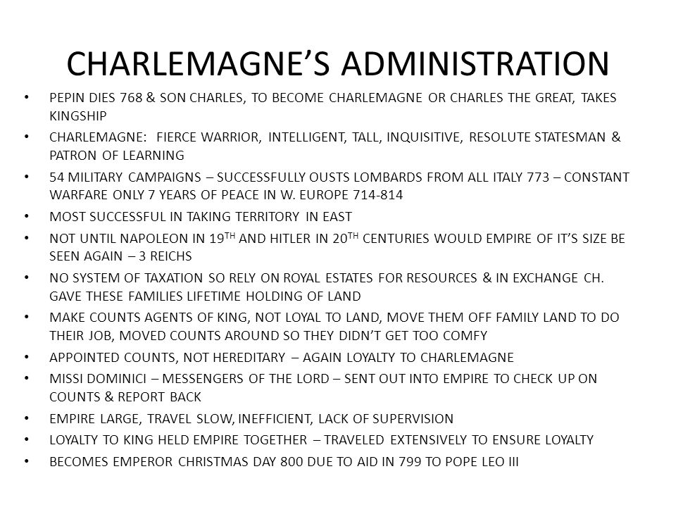 CHARLEMAGNE'S ADMINISTRATION