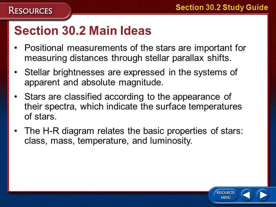 Section 30.2 Study Guide Section 30.2 Main Ideas.