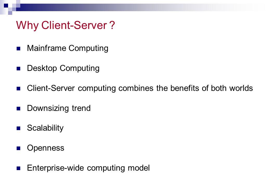 Why Client-Server Mainframe Computing Desktop Computing