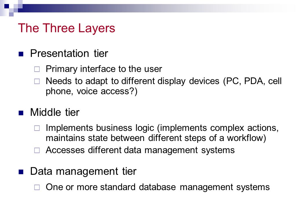 The Three Layers Presentation tier Middle tier Data management tier