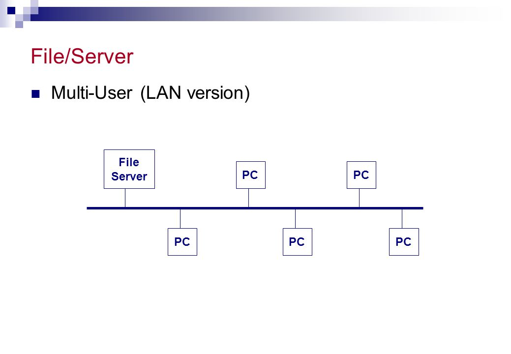 File/Server Multi-User (LAN version) File Server PC PC PC PC PC