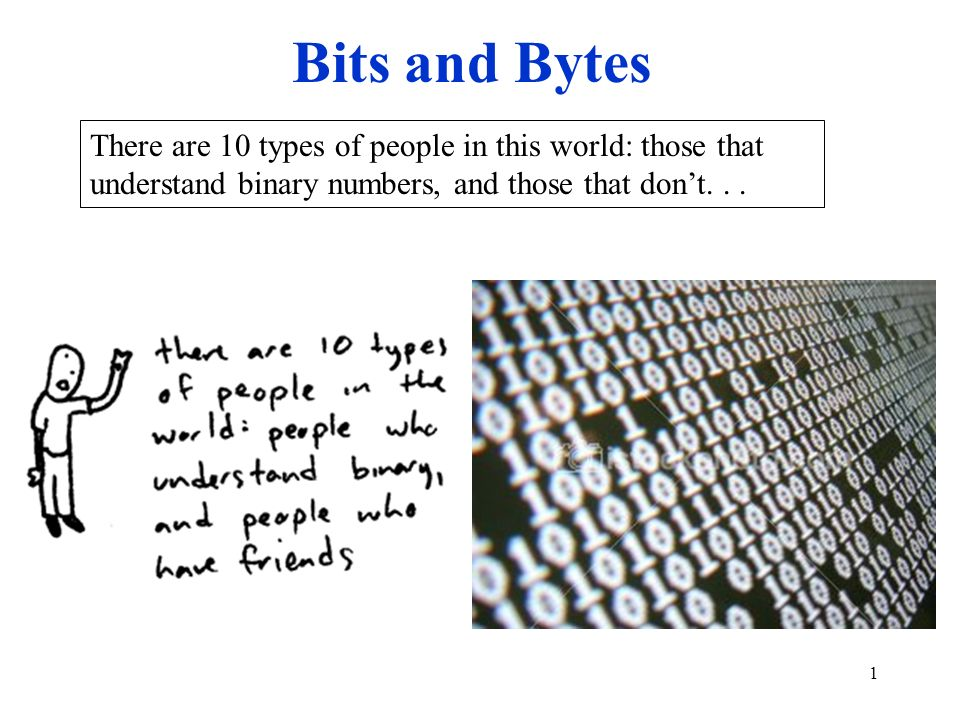 Bits and Bytes There are 10 types of people in this world: those that understand binary numbers, and those that don't. . .