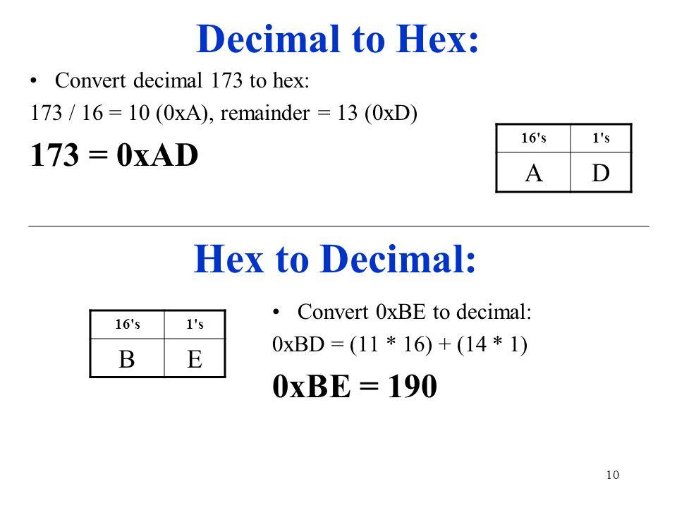 Decimal to Hex: Hex to Decimal: