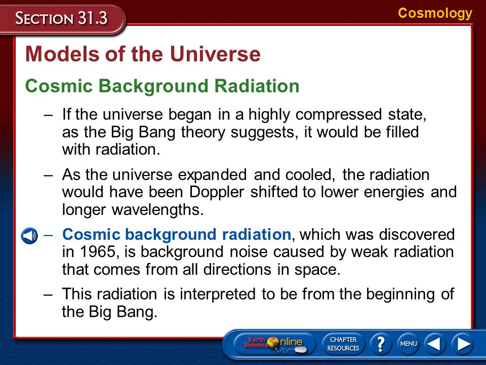 Models of the Universe Cosmic Background Radiation