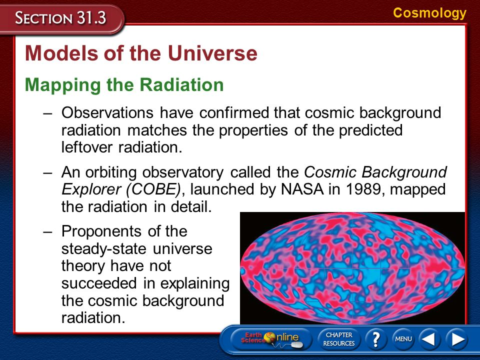 Models of the Universe Mapping the Radiation