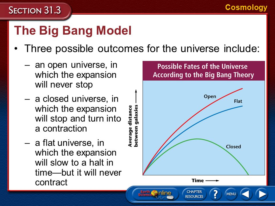 The Big Bang Model Three possible outcomes for the universe include:
