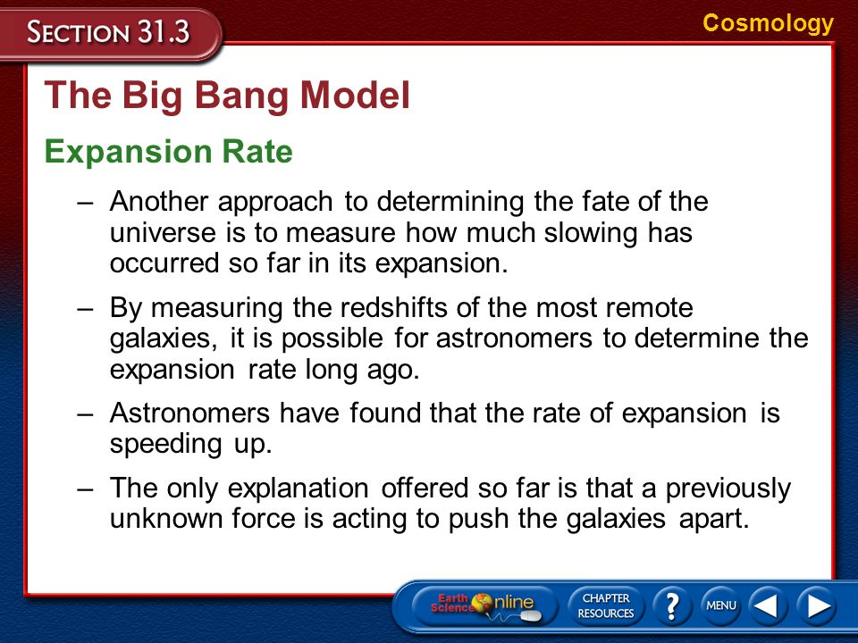 The Big Bang Model Expansion Rate