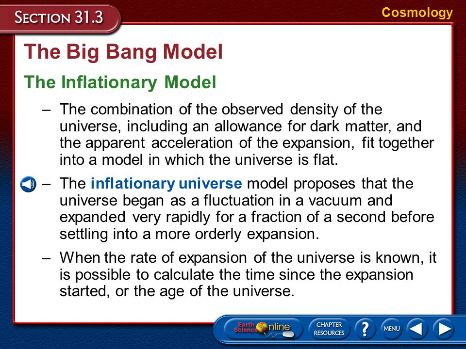 The Big Bang Model The Inflationary Model