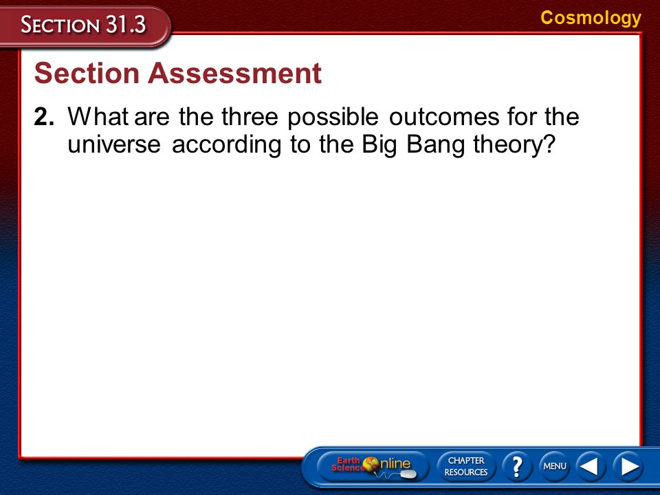 Cosmology Section Assessment.