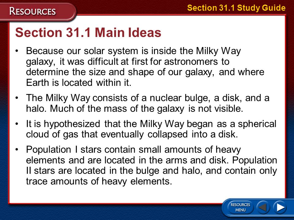 Section 31.1 Study Guide Section 31.1 Main Ideas.