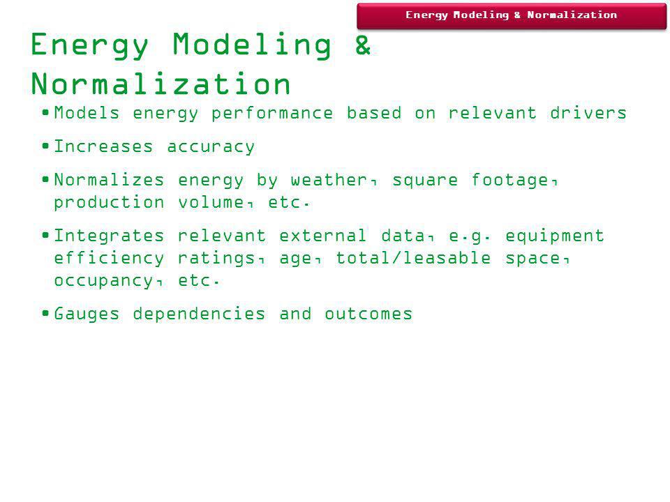 Energy Modeling & Normalization